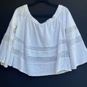 Rebecca Minkoff off the shoulder lace blouse